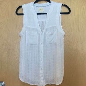 Anthropologie Maeve Button Front Sleeveless Blouse